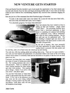 Feature in local community newsletter