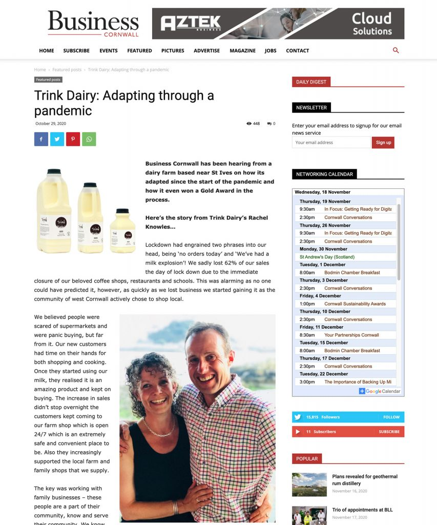 Business Cornwall and Trink Dairy